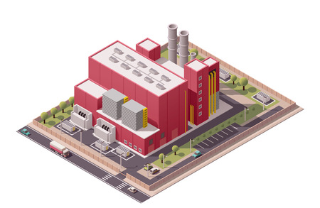 Isometric icon set representing factory with backyard 矢量图像