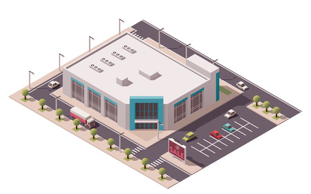 supermarkets: Vector isometric shopping mall building icon