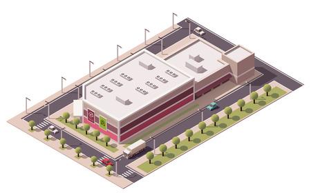compras: Vector de compras isométrica icono edificio comercial