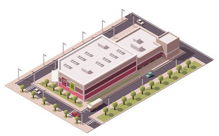 commercial sign: Vector isometric shopping mall building icon
