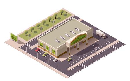 Vecteur achats isométrique bâtiment commercial icône