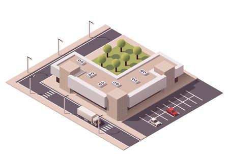 carte: Vecteur achats isométrique bâtiment commercial icône