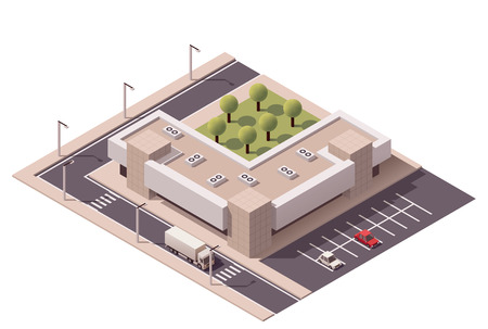 city: Vector isometric shopping mall building icon