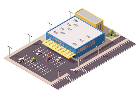 store front: Vector isometric shopping mall building icon