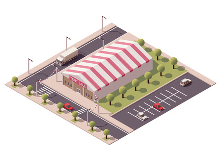 tent city: Vector isometric shopping sale tent store icon Illustration