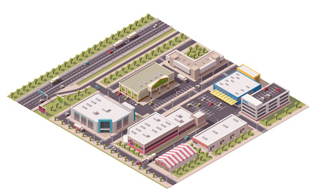 Vector isometric shopping district