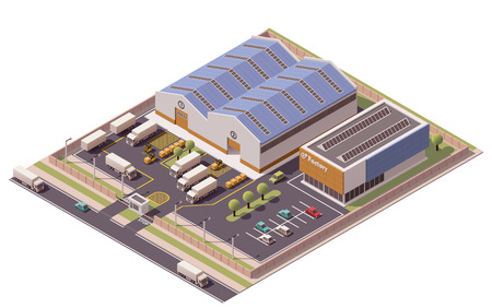 warehouse storage: Vector isometric factory buildings icon Illustration