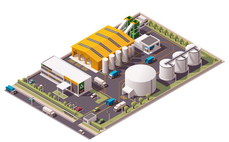 dump truck: Vector isometric waste recycling plant icon