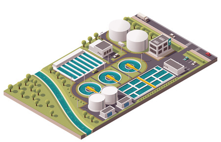 industriales: Vector de la planta de tratamiento de aguas isométrica