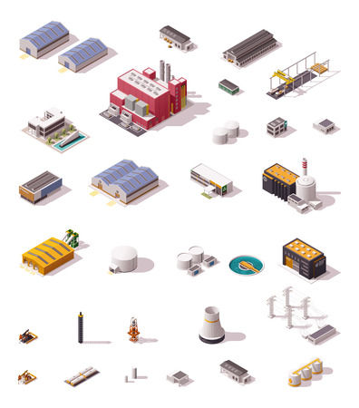 storage warehouse: Isometric icon set representing industrial structures