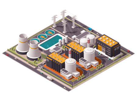 nuclear power: Isometric icon set representing nuclear power station