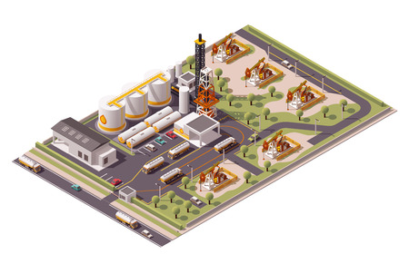 Isometric icon set representing oil field extracting crude oil