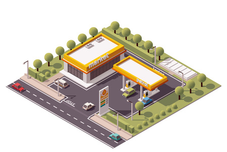Isometric icon set representing small gas station Çizim