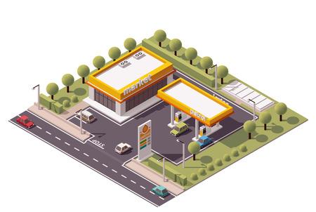 Izometryczny zestaw ikon reprezentujących małą stację benzynową