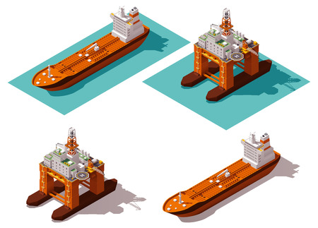 ships: Isometric icon set representing oil platform and tanker