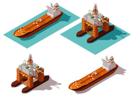 szállítás: Izometrikus ikon készlet képviselő olajfúró platform és tartályhajó