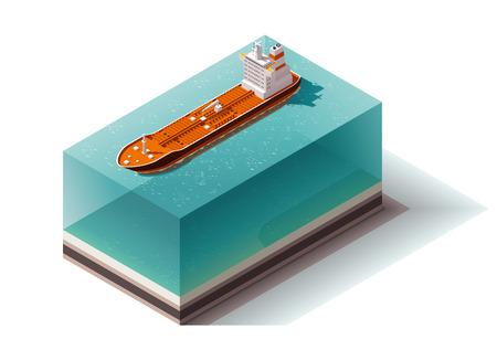 bulk carrier: Isometric icon set representing oil carrier