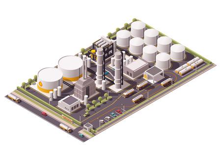 Isométrica conjunto de iconos que representan la refinería de petróleo