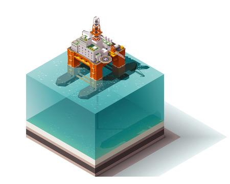 pozo petrolero: Isométrica conjunto de iconos que representan la plataforma petrolera en alta mar