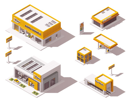 petrol pump: Set of the isometric road transport related buildings Illustration