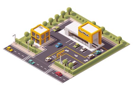 ベクトル等尺性の洗車の建物のアイコン