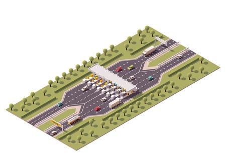 honorarios: Vector carretera isom�trica barreras de peaje