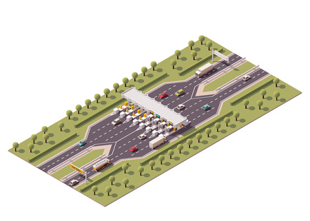 truck on highway: Vector isometric road toll barriers