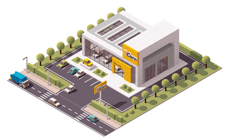 building industry: Vector isometric Car Store building icon Illustration