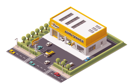 garage on house: Vector isometric Car Service building icon Illustration