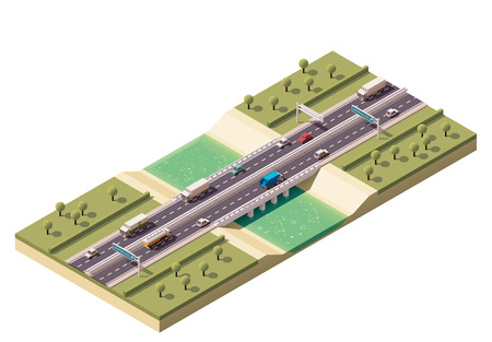 cars on the road: Isometric bridge over the river Illustration