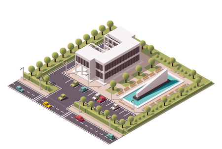 office icons: Isometric icon set representing office building