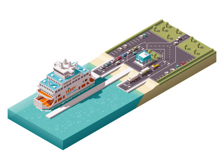 Isometric icons representing unloading ferry in harbor 矢量图像