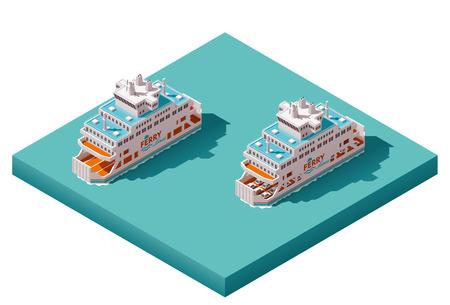 carro caricatura: Iconos isométricos representan transbordadores cargados y vacíos