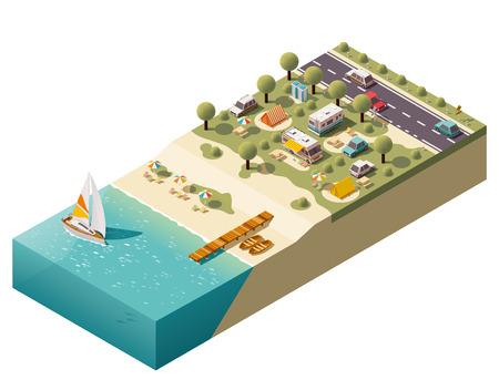 bateau: Isom�trique camping pr�s de la c�te Illustration