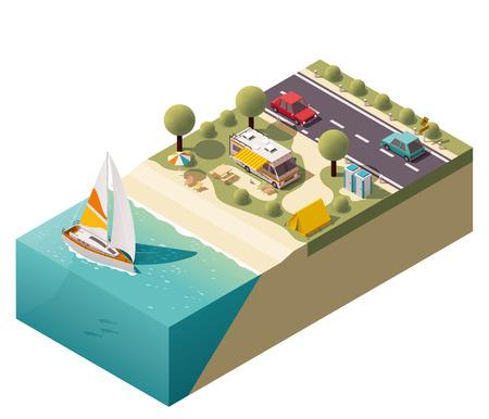 barco caricatura: Camping isométrica cerca de la costa Vectores