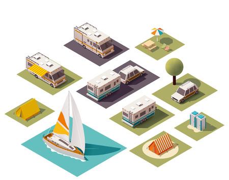 barco caricatura: Acampar isom�trica y equipo de viaje