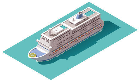 Isometric icons representing cruise liner Illustration