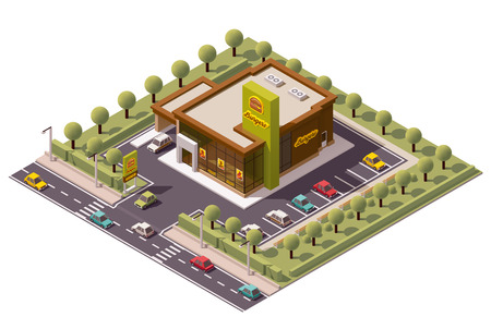 food icons: Vector isometric fast food restaurant icon