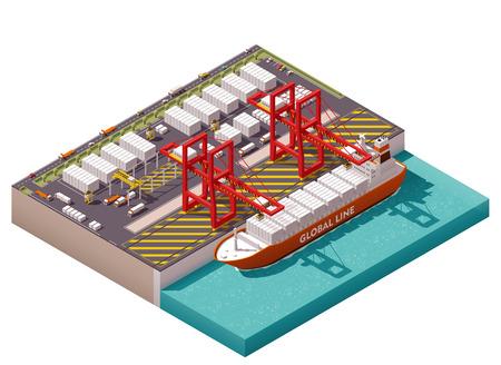 Puerto de carga isométrica con grúas y barco de contenedores