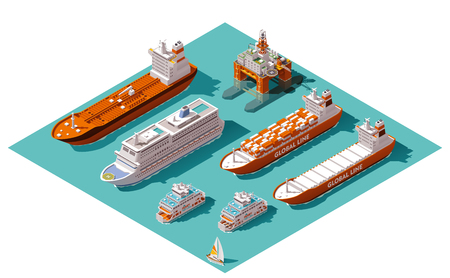 Isometric icons representing nautical transport Çizim