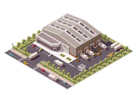 edificio: Vector icono de edificio de almacén isométrica