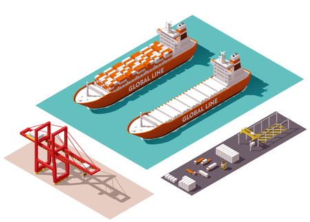 barco caricatura: M�quinas portuarias de carga isom�tricos y equipos Vectores