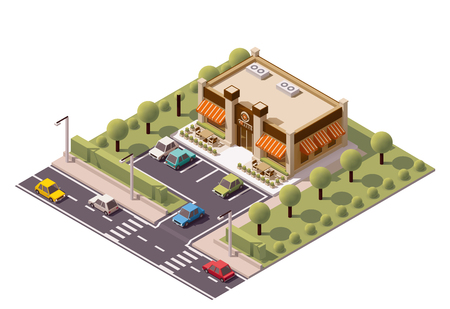 go to store: isometric coffee shop building icon