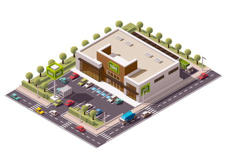 plaza comercial: edificio de la tienda de comestibles isométrica