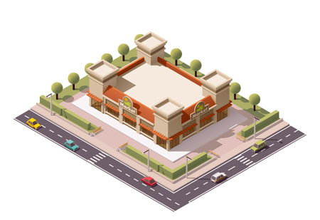 greengrocer: isometric farmers market building Illustration