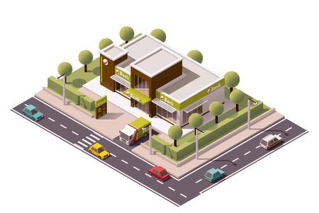 Isometric icon set representing bank building