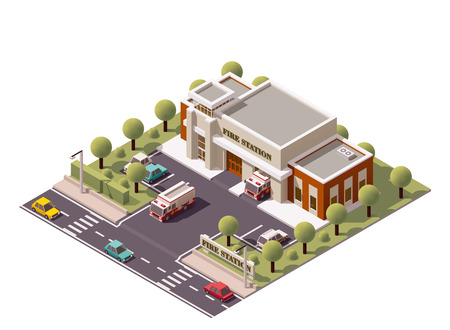 fire department: Vector isometric fire department  building icon
