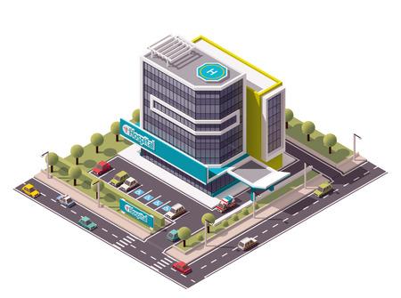 ortseingangsschild: Vector isometrische Krankenhausgebäude icon Illustration