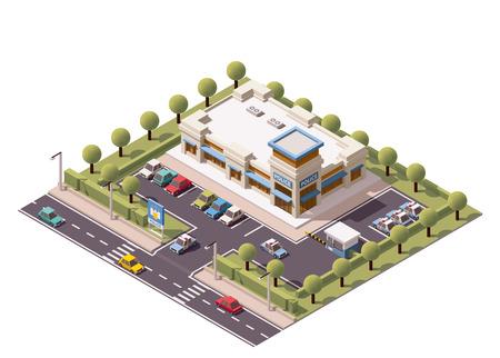 벡터 아이소 메트릭 경찰서 건물 아이콘