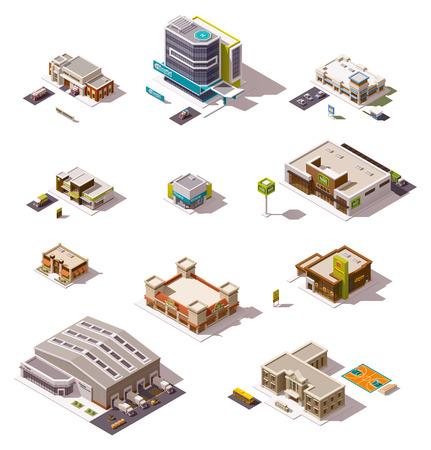 plaza comercial: Conjunto de los diferentes edificios isométricos Vectores